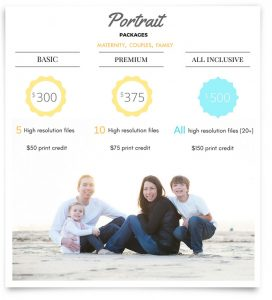 Rates for family and pregnancy photos