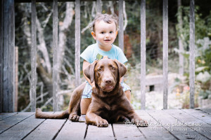 Boy with his puppy