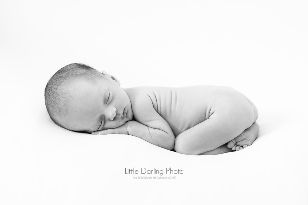 Black and white newborn photo