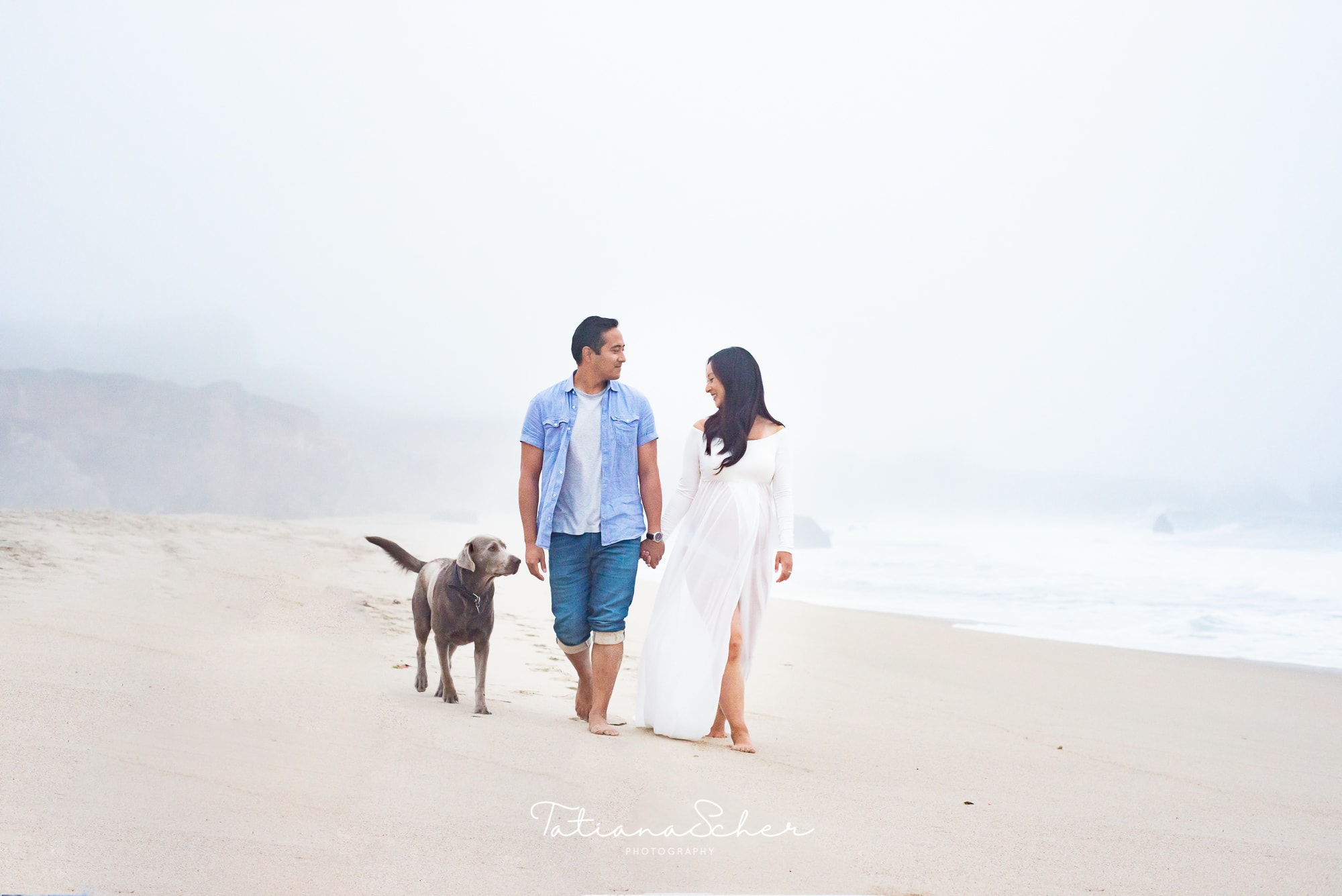 foggy beach maternity shoot