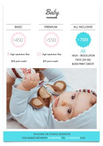 Price sheet for baby photos
