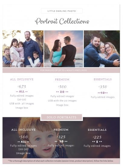 Family Photographer rates