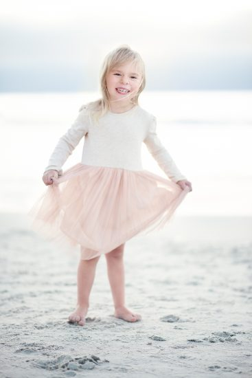 Toddler girl portrait at the beach