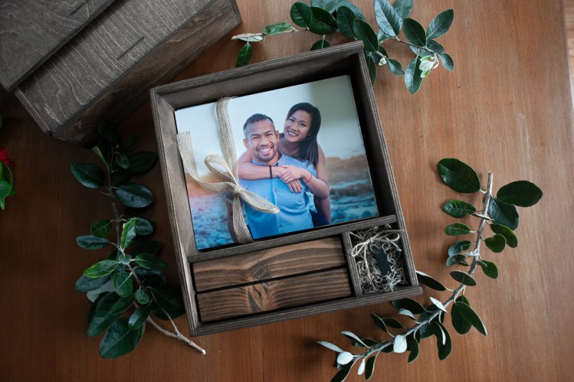 Wooden box with photo stand