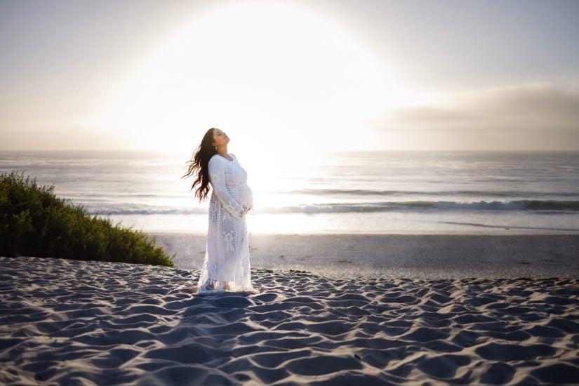 pregnant woman in Carmel beach