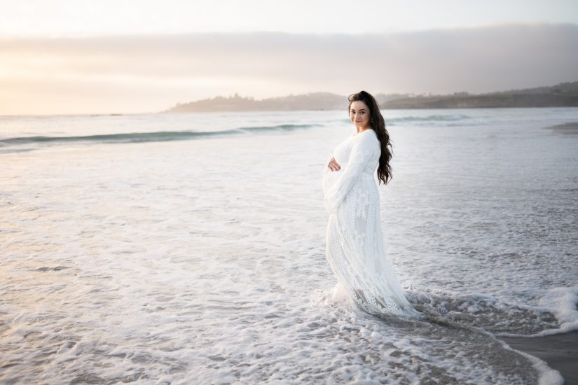 Maternity photo by the ocean in Monterey