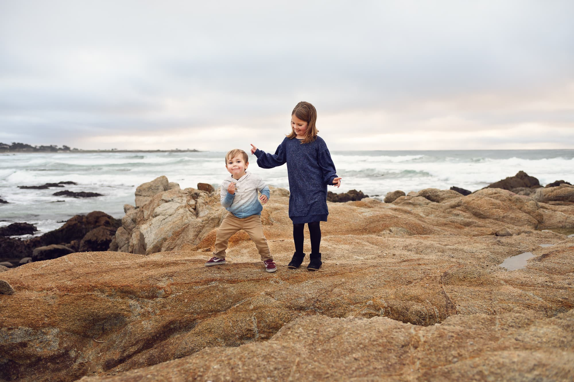 brother and sister in Asilomar Pacific Grove
