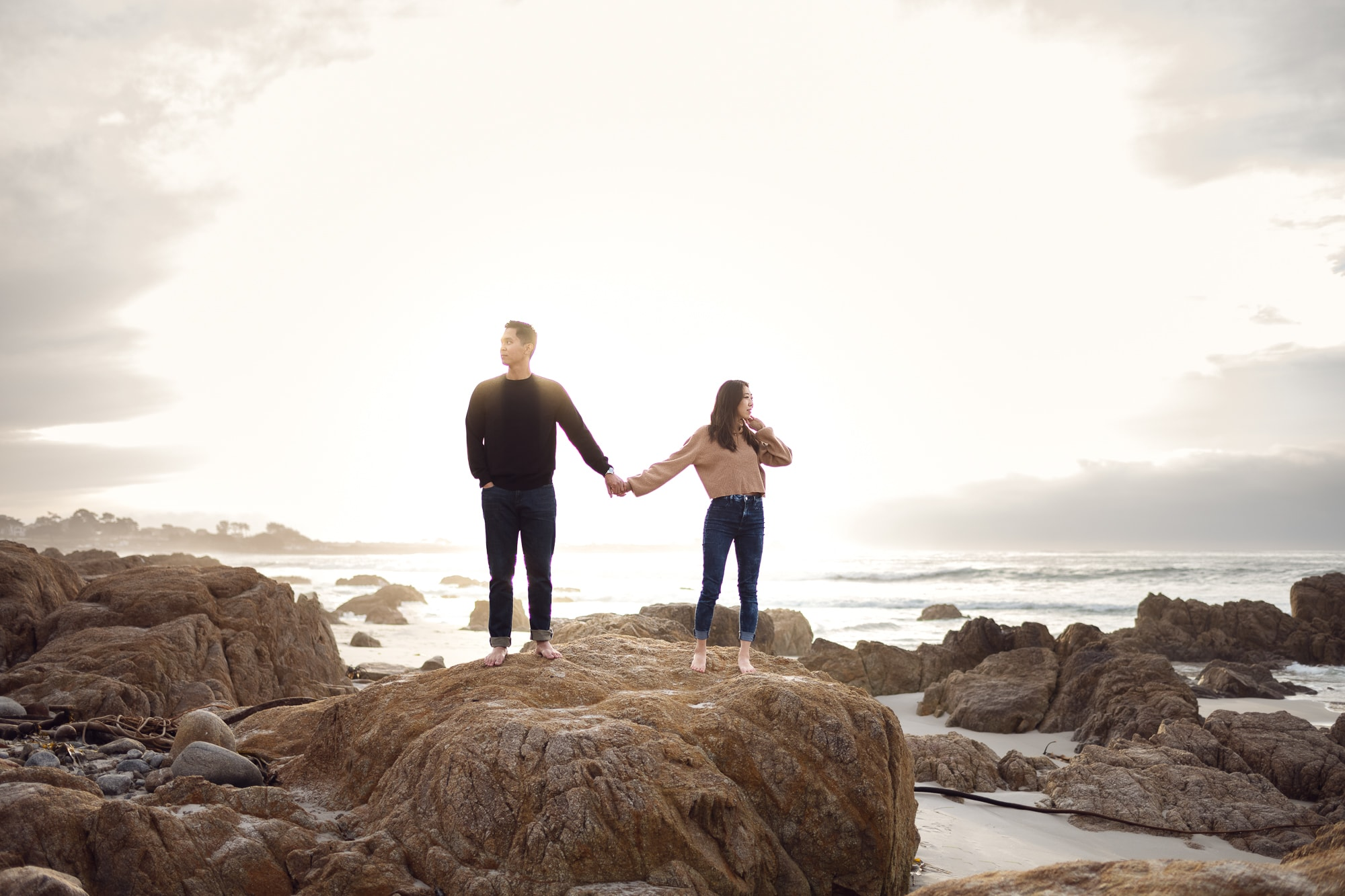 Pebble Beach sunset engagement